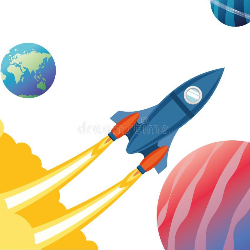 Rocket no espaço com os planetas do sistema solar ilustração stock