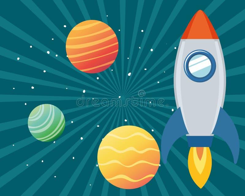 Rocket no espaço com os planetas do sistema solar ilustração do vetor