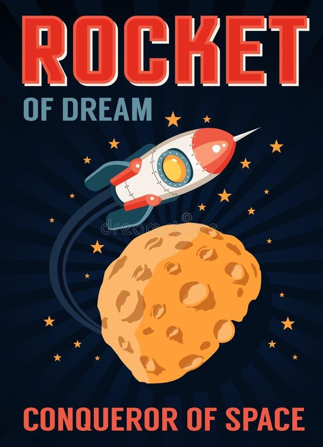 Rocket no espaço voa sobre um planeta com as crateras similares à lua ilustração do vetor