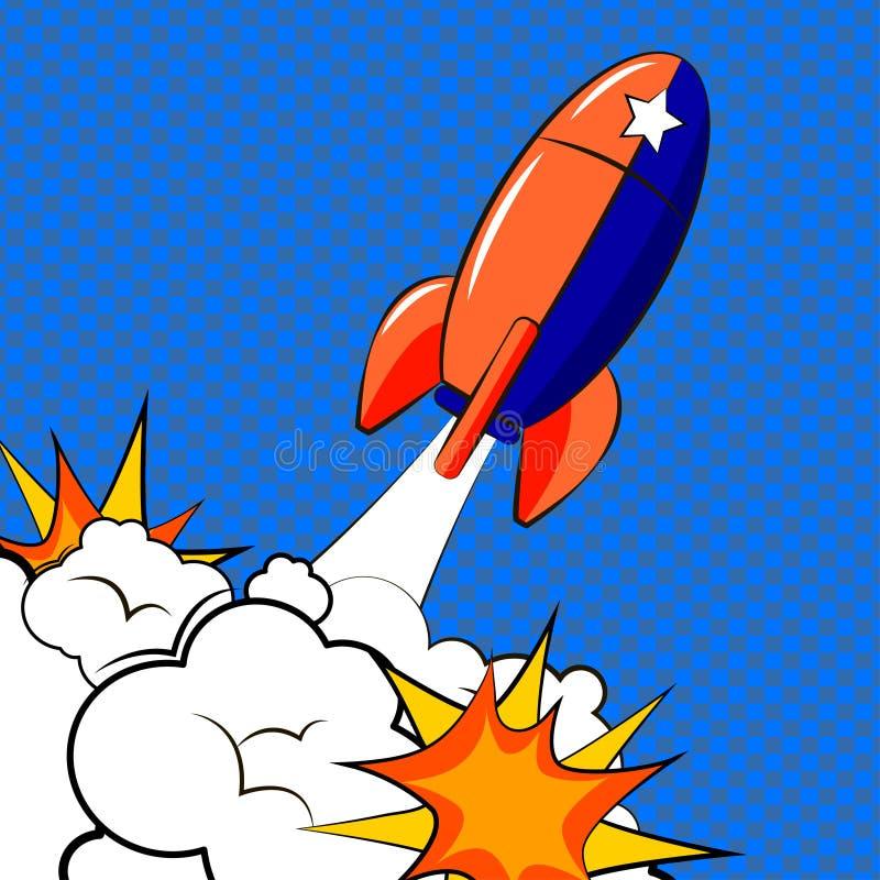 Rocket no estilo do pop art ilustração stock
