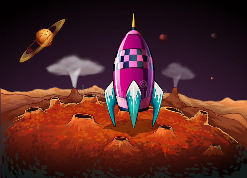 A rocket at the outerspace near the planets royalty free illustration