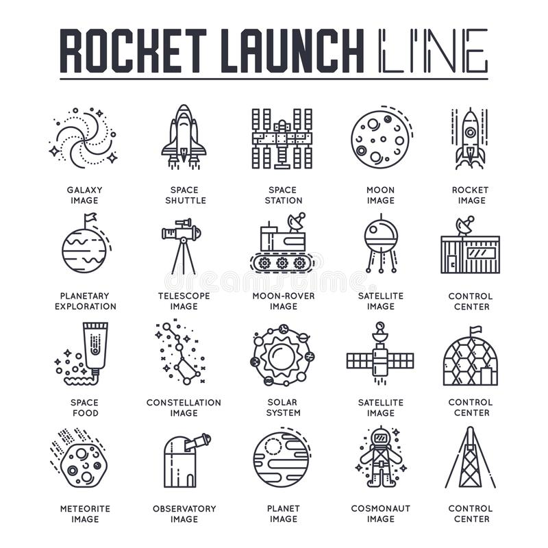 Thin Line Set Of Different Rocket Weapons And Vehicles On Military