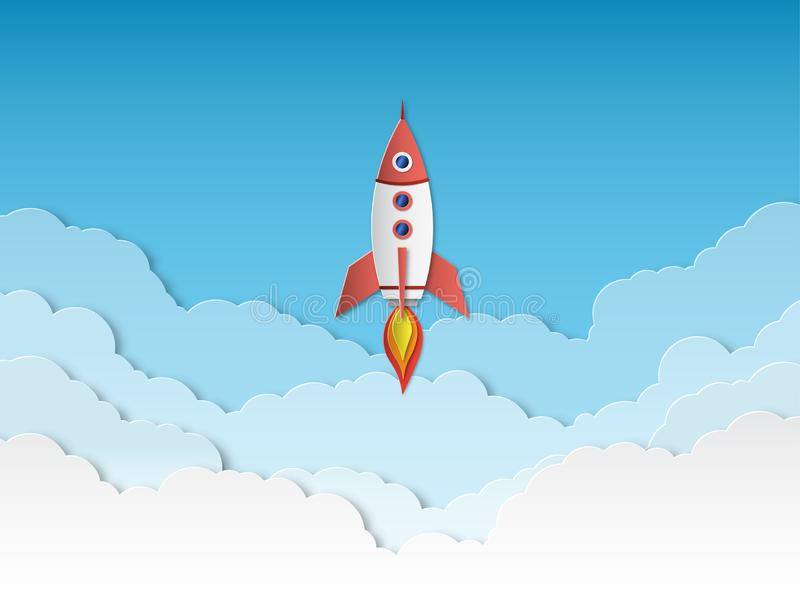 Rocket paper cut. Rockets launch with clouds, successful business start up. Taking off spaceship 3d cartoon origami royalty free illustration