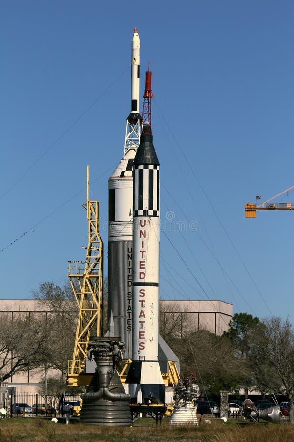 Rocket Park in Johnson Space Center stock afbeeldingen