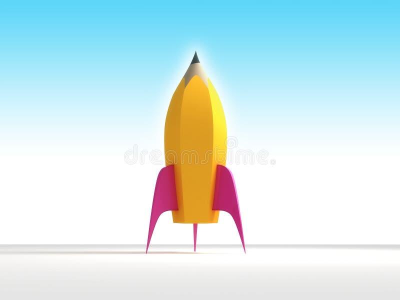 Rocket pencil stock photos