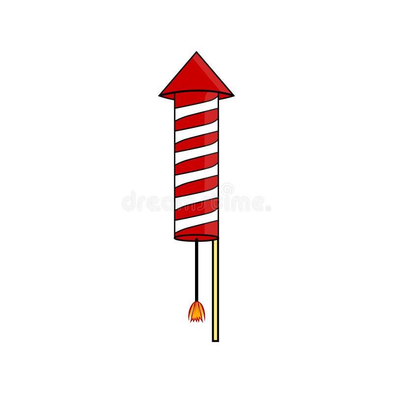 Rocket per i fuochi d'artificio Petardo per fuoco festivo, petardo Celebrazione 4 luglio tradizionale Progettazione piana del fum illustrazione di stock