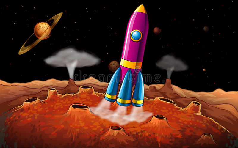 A rocket and planets at the outerspace vector illustration