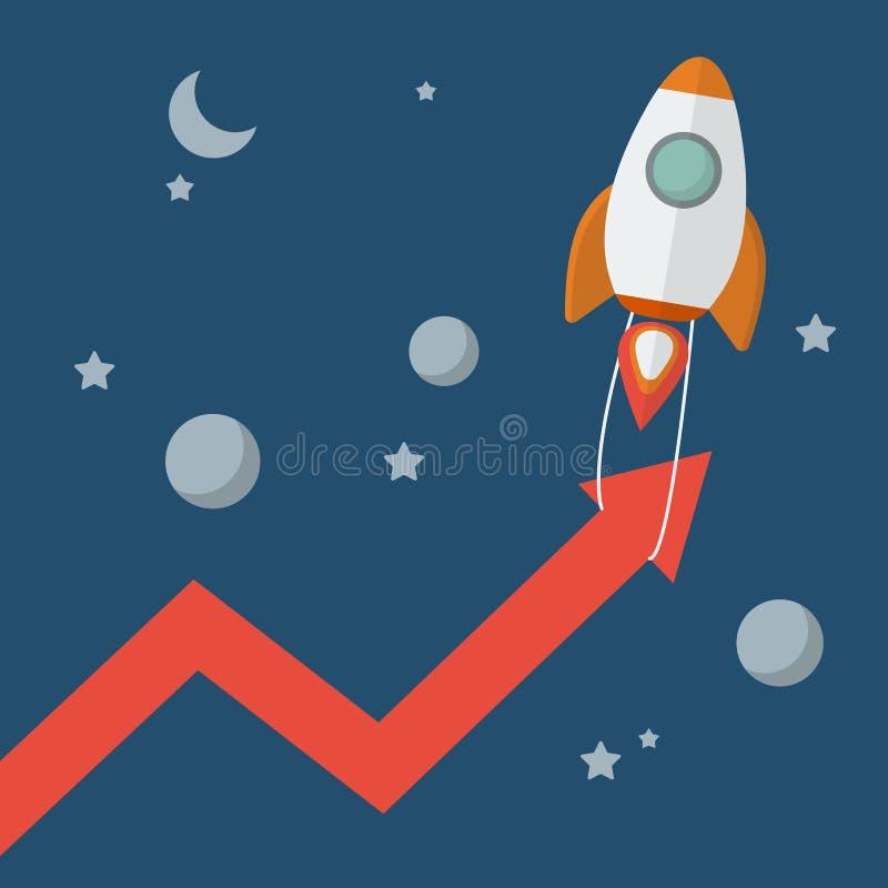 Rocket pull arrow graph up stock illustration