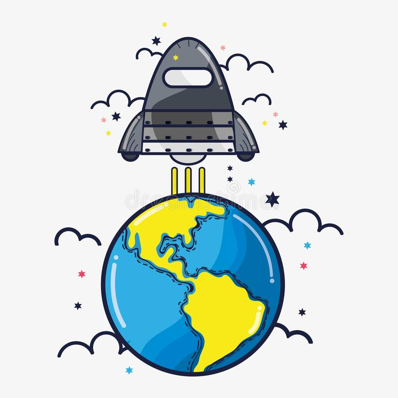 Rocket que deja el planeta de la tierra para ir al espacio ilustración del vector
