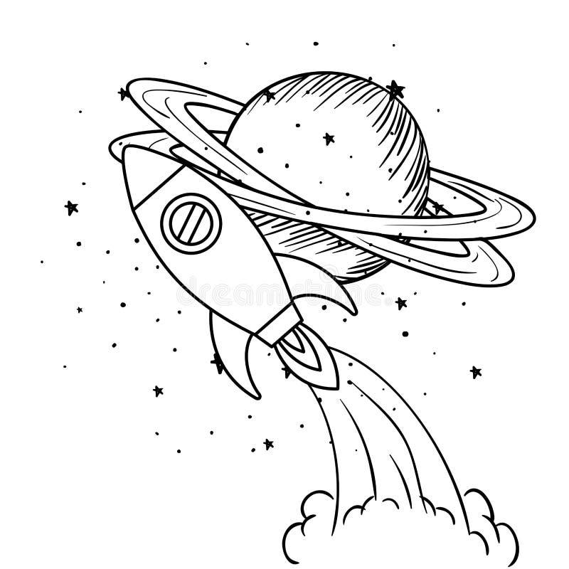 Rocket que voa com o planeta do sistema solar ilustração stock