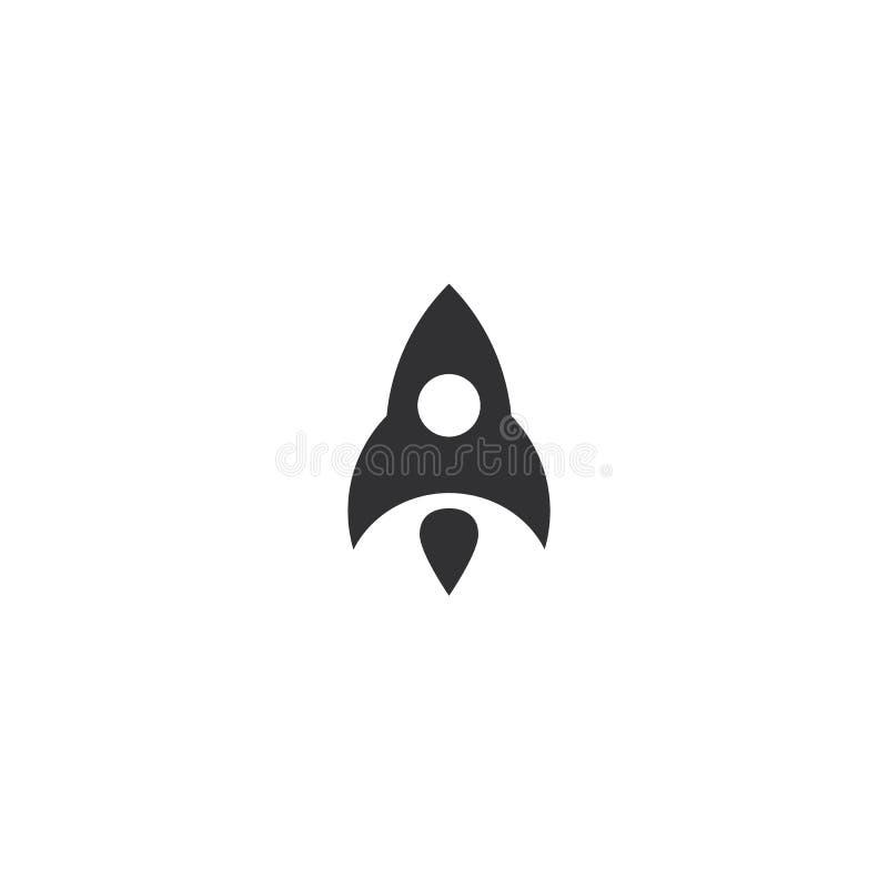 Rocket que vuela encima de icono Lanzamiento negro de la nave Logotipo del producto de la innovación Ejemplo del vector de la est libre illustration