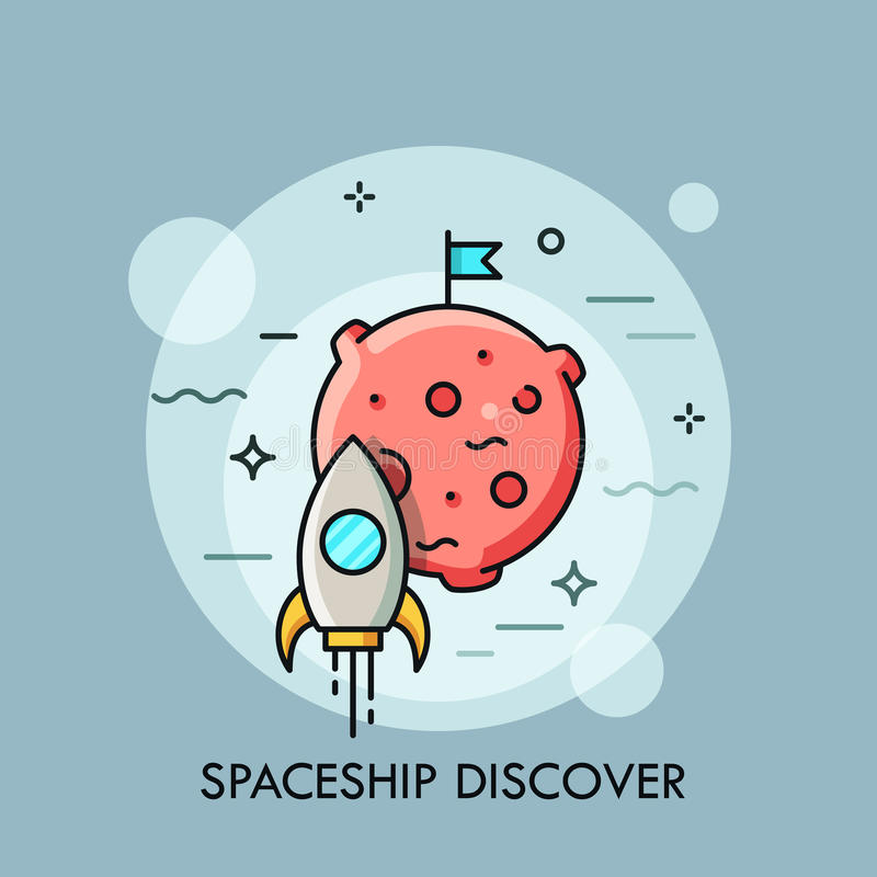 Rocket que vuela a la luna, transbordador espacial que saca en la misión libre illustration