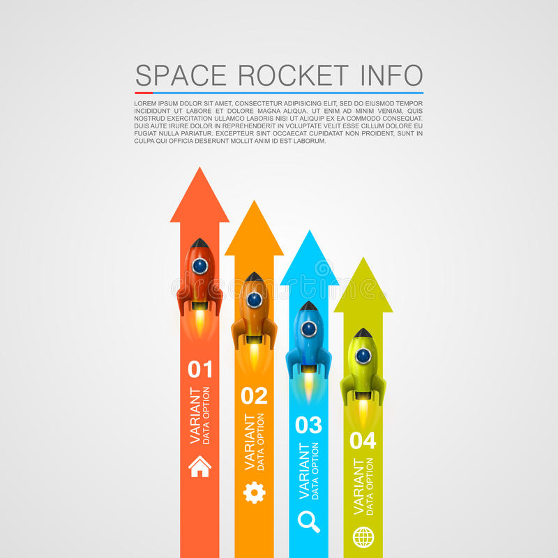 Rocket racing info art cover stock illustration