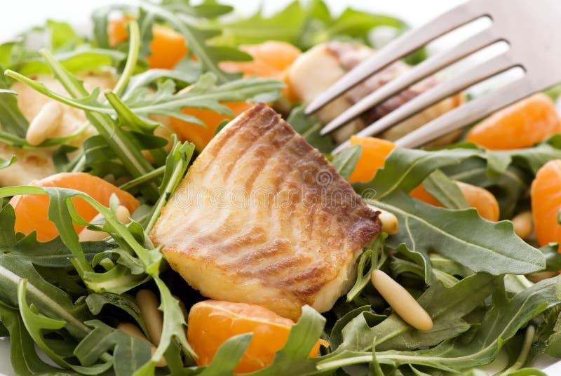 Rocket Salad. With Tilapiini and orange royalty free stock images