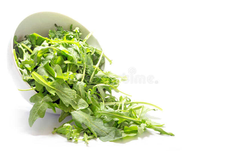 Rocket salad leaves, rucola or arugula, falling from a ceramic b. Rocket salad leaves, eruca sativa, also named rucola or arugula, falling from a ceramic bowl royalty free stock photo