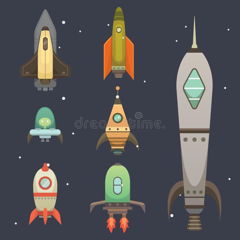 Rocket-Schiff in der Karikaturart Neue Geschäfts-Innovations-Entwicklungs-flache Design-Ikonen-Schablone Raumschiffe vektor abbildung
