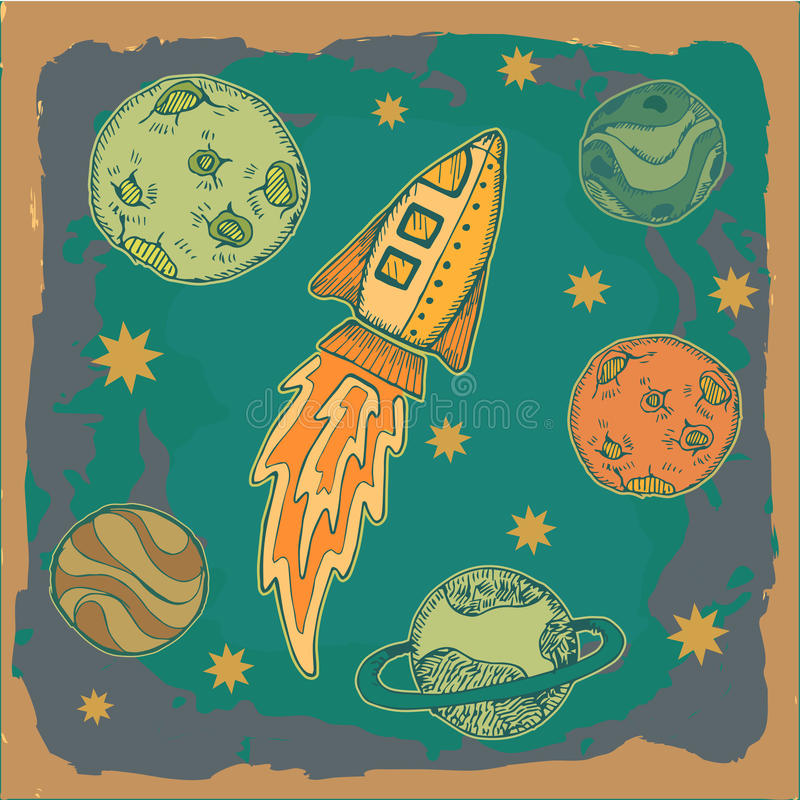 Free Rocket , Science Fiction Cartoon Childish Illustration Royalty Free Stock Photos - 33915628