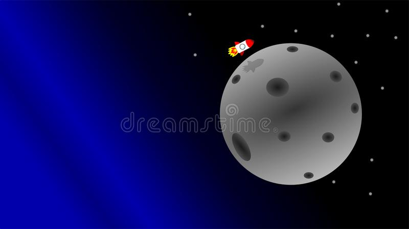 Rocket science project = mission to the moon stock illustration