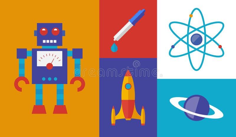 Rocket science vector symbols stock illustration