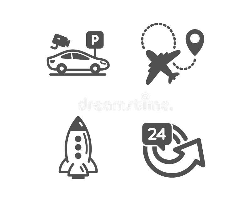 Rocket, segurança de estacionamento e ícones do avião 24 horas de sinal Nave espacial, câmara de vídeo, plano repeat Vetor ilustração royalty free