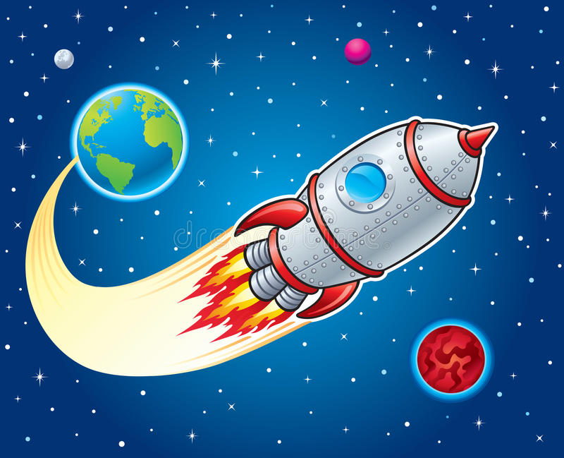 Rocket Ship Blasting From Earth Stock Illustration