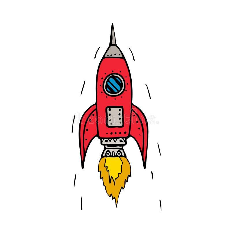 Rocket Ship Blasting Off Drawing d'annata royalty illustrazione gratis