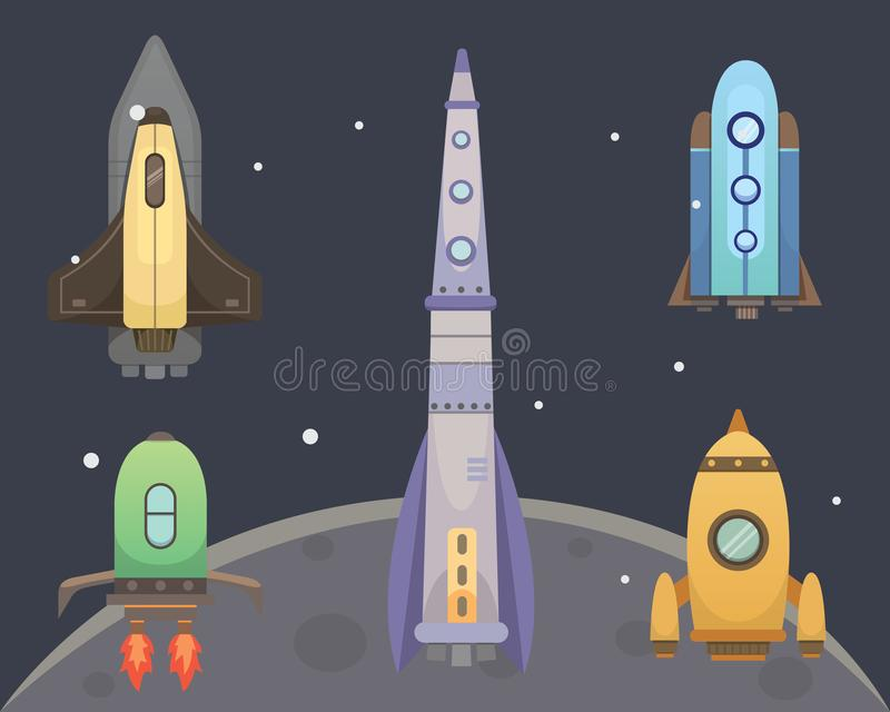 Rocket ship in cartoon style. New Businesses Innovation stock illustration