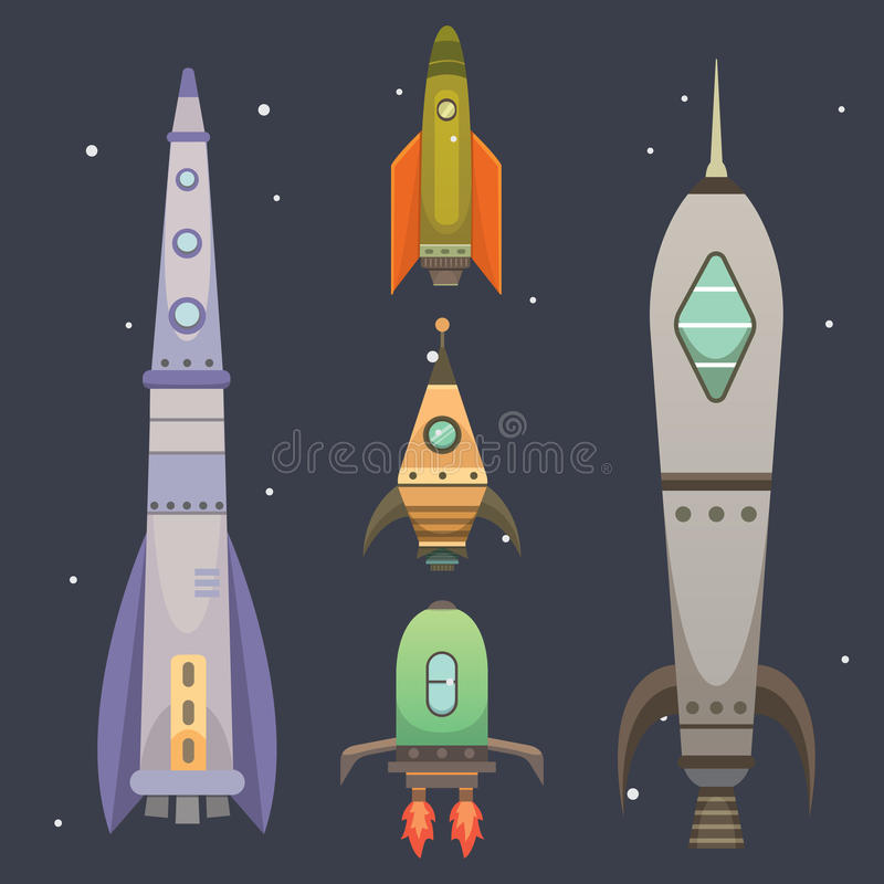 Rocket ship in cartoon style. New Businesses Innovation Development Flat Design Icons Template. Space ships. Illustrations set stock illustration