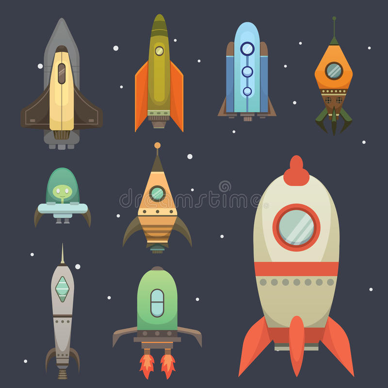 Rocket ship in cartoon style. New Businesses Innovation Development Flat Design Icons Template. Space ships vector illustration