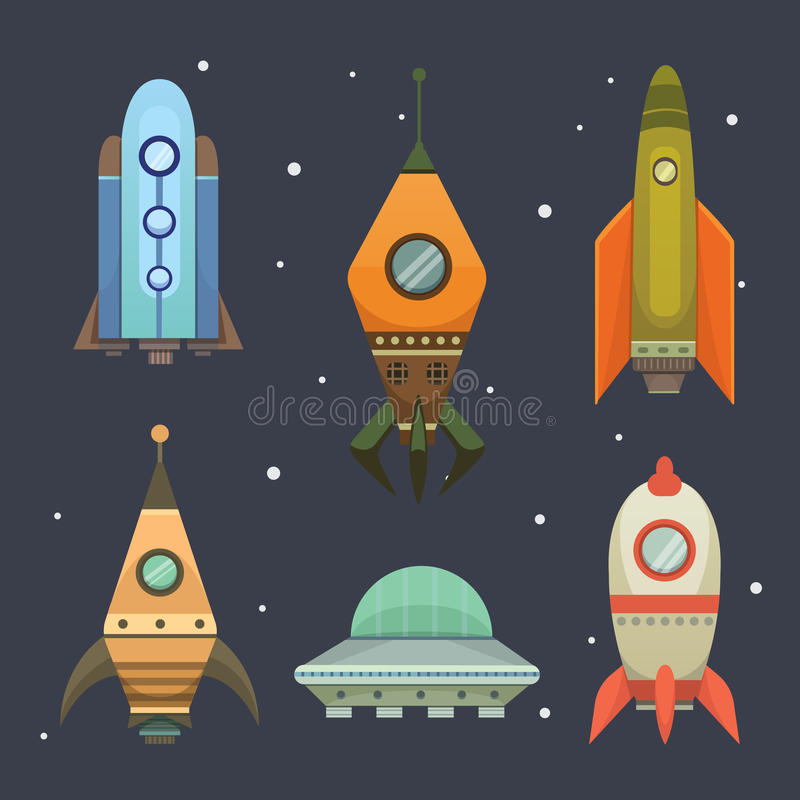 Rocket ship in cartoon style. New Businesses Innovation Development Flat Design Icons Template. Space ships. Illustrations set royalty free illustration