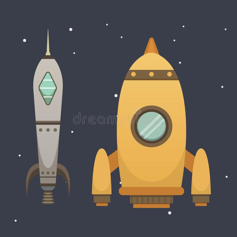 Rocket ship in cartoon style. New Businesses Innovation Development. Flat Design Icons Template. Space ships royalty free illustration