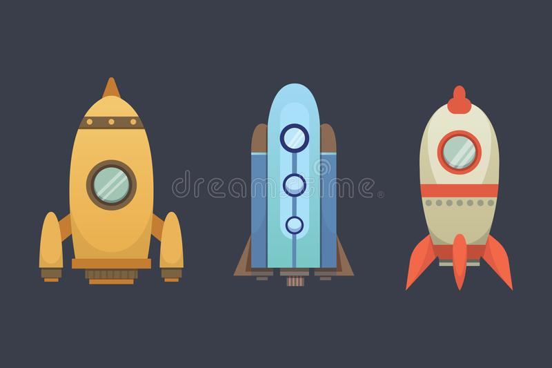 Rocket ship in cartoon style. New Businesses Innovation Development Flat Design Icons Template. Space ships. Illustrations set vector illustration