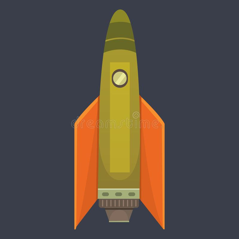 Rocket ship in cartoon style. New Businesses Innovation. Development Flat Design IconsTemplate stock illustration
