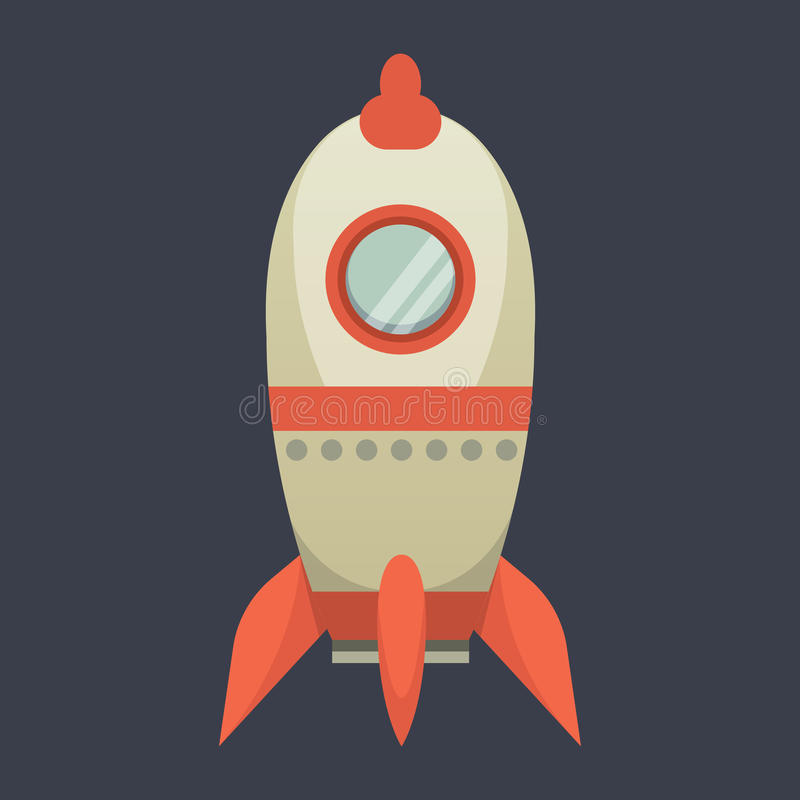 Rocket ship in cartoon style. New Businesses Innovation Development Flat Design IconsTemplate. Rocket ship in cartoon style. New Businesses Innovation royalty free illustration