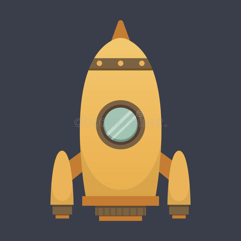Rocket ship in cartoon style. New Businesses Innovation Development Flat Design IconsTemplate.  royalty free illustration