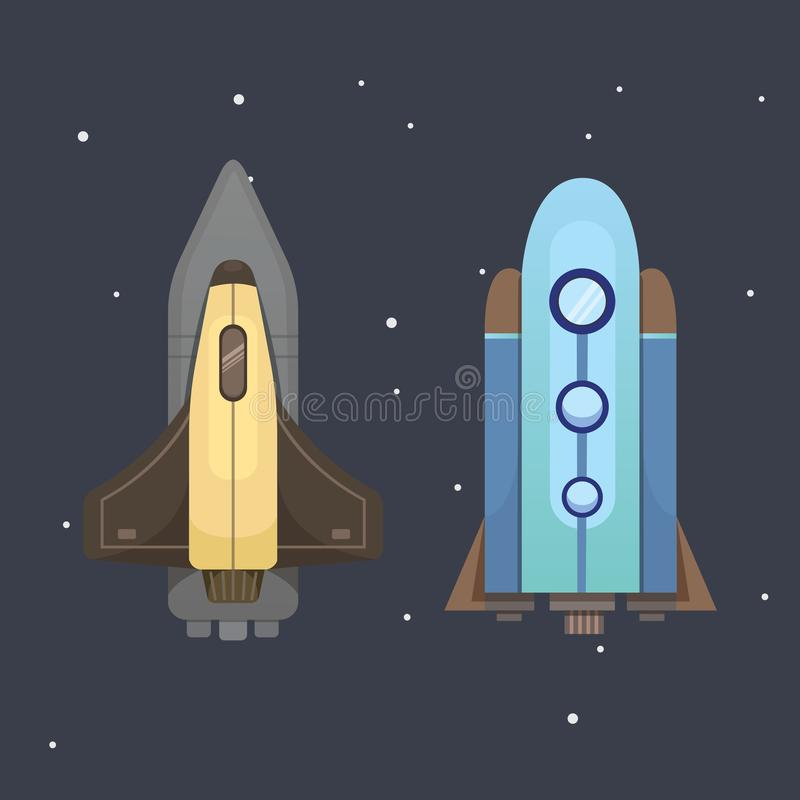 Rocket ship in cartoon style. New Businesses Innovation. Development Flat Design Icons Template. Space ships stock illustration