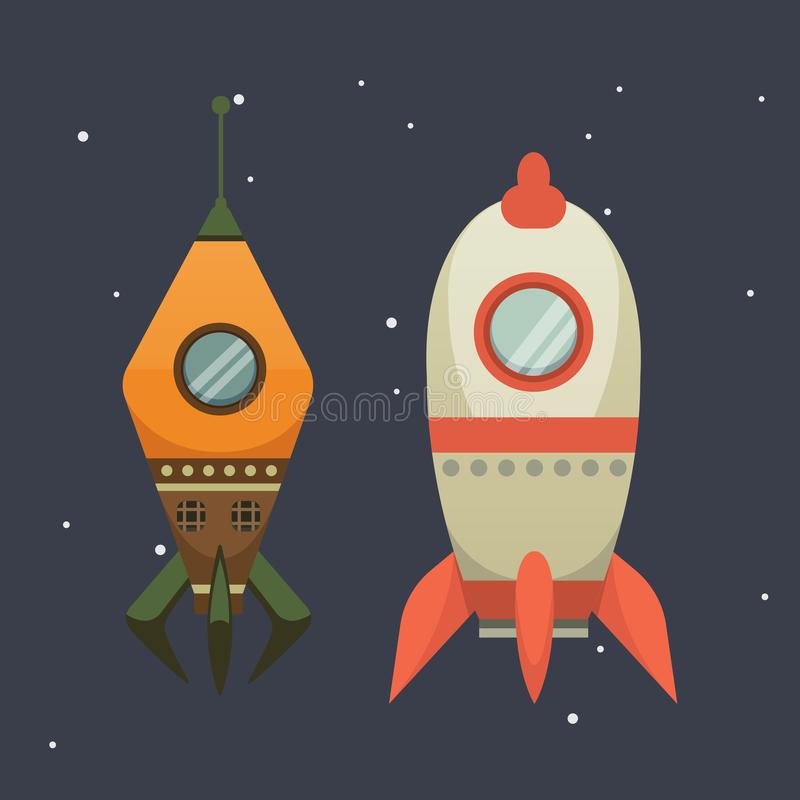 Rocket ship in cartoon style. New Businesses Innovation. Development Flat Design Icons Template. Space ships illustrations set royalty free illustration