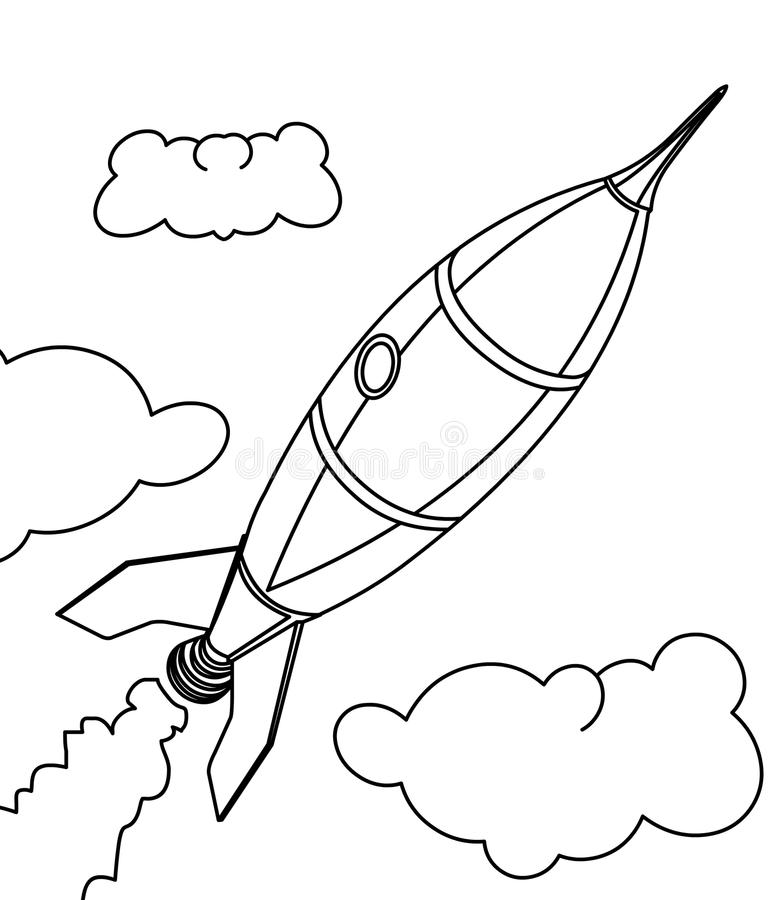 Rocket ship coloring page vector illustration