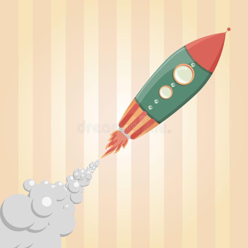 Rocket Ship/ejemplo cómicos de una nave espacial retra del hierro de la historieta que arruina apagado y que vuela stock de ilustración