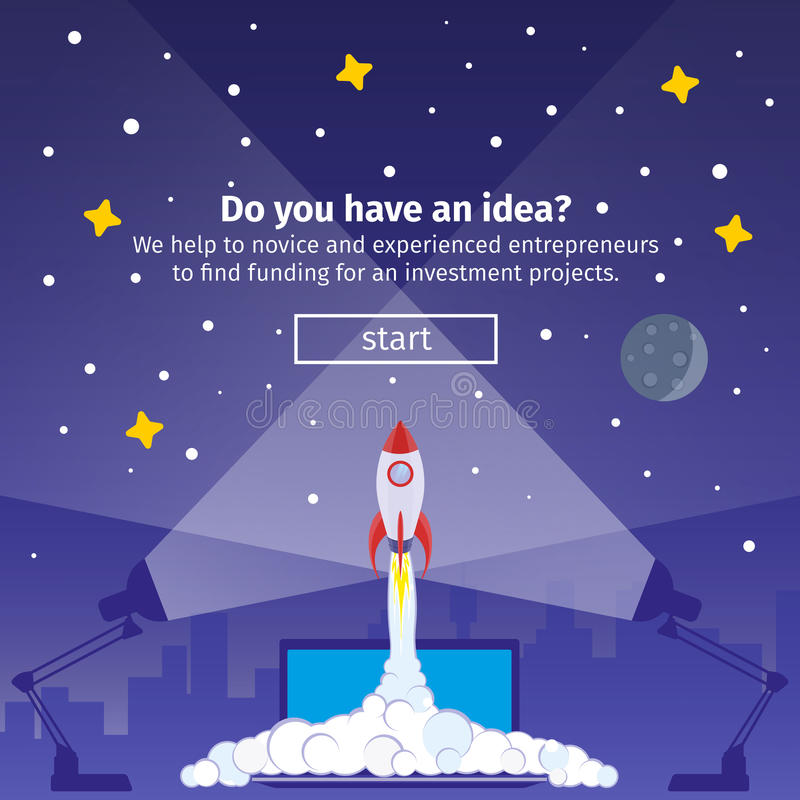 Rocket ship in a flat style banner royalty free illustration