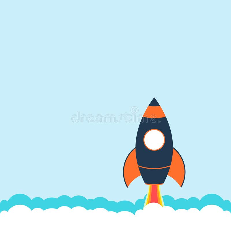 Rocket ship in a flat style.Vector illustration with 3d flying rocket.Space travel to the moon.Space rocket launch.Project start vector illustration