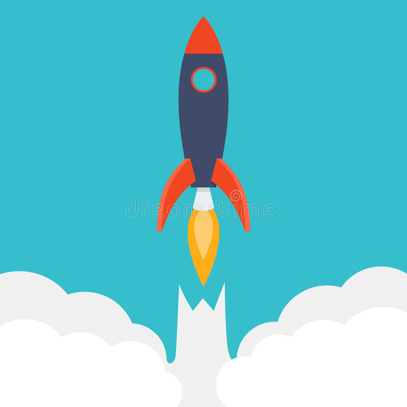 Rocket ship in a flat style. vector illustration