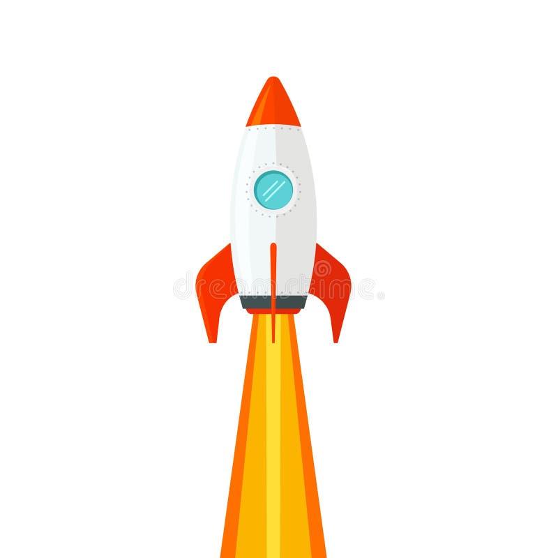Rocket ship flying isolated on white background vector illustration, flat cartoon design of rocketship launch, missile vector illustration
