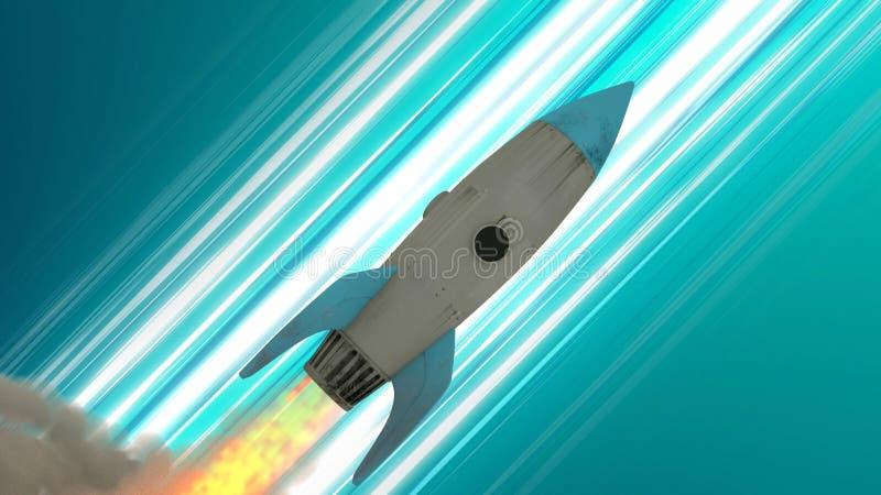 Rocket Ship Flying Through Space Blåa diagonala Animehastighetslinjer illustration 3d royaltyfri illustrationer