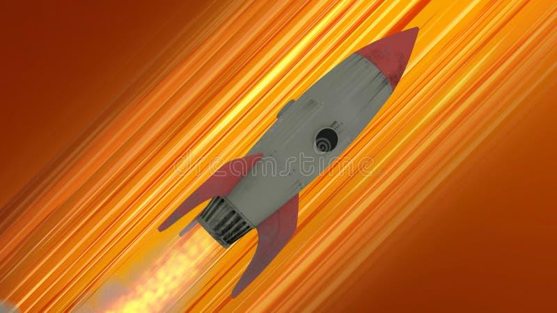 Rocket Ship Flying Through Space. Orange Diagonal Anime Speed Lines. 3d illustration royalty free illustration