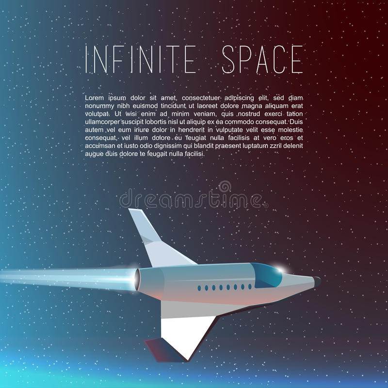 The Rocket Ship Flying In The Space. Spaceship Stock Illustration ...