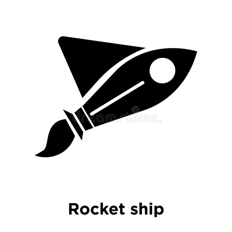 Rocket ship icon vector isolated on white background, logo concept of Rocket ship sign on transparent background, black filled. Rocket ship icon vector isolated vector illustration