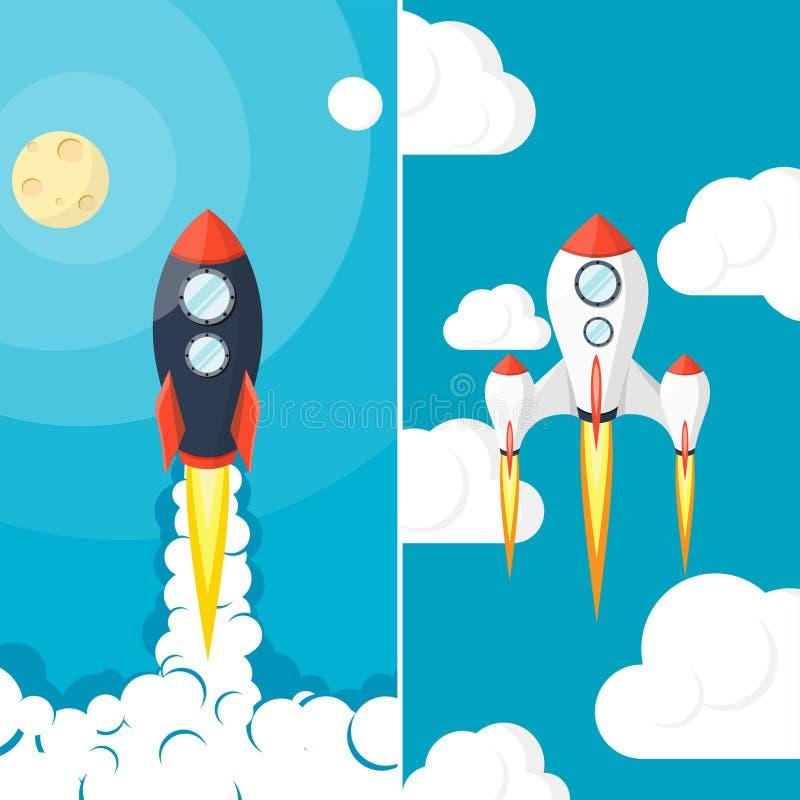 Rocket Ship lancement Voyage dans l'espace Commencez  Idée créative, innovation Vol à la lune illustration stock