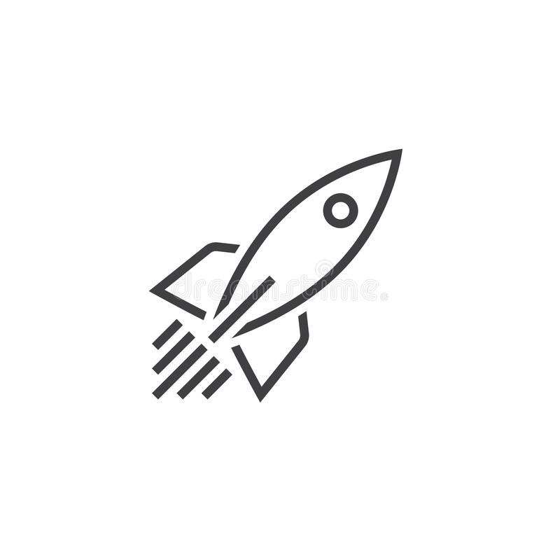 Rocket ship line icon, outline vector logo, linear pictogram. Isolated on white, pixel perfect illustration royalty free illustration