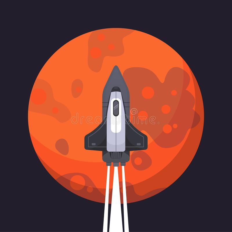 Rocket ship and mars in cartoon style. New Businesses Innovation Development Flat Design IconsTemplate. Rocket ship and mars in cartoon style. New Businesses royalty free illustration